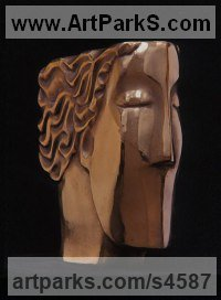 Bronze Arte Deco style Abstract Stylised Contemporary Modern sculpture by Glynis Owen titled: 'Thinking Head (Modern abstract Arte Deco female Head Bust)'