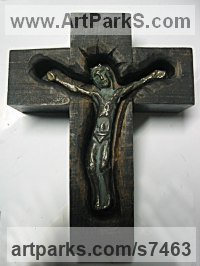 Wood bronze Spiritual sculpture by Goran Gus Nemarnik titled: 'Crucifix (Carved Wood and bronze statuette statue Alter Piece)'