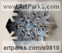 Aluminum Organic / Abstract sculpture by Goran Gus Nemarnik titled: 'Snowflake (Outsize Metal Wall Mounted sculpture)'