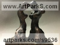 Bronze , wood Little Small Nude or Naked Girls Women Ladies Females Sculpture Statue statuettes Figurines sculpture by Goran Gus Nemarnik titled: 'Tense Attitude (Little female Torso Modern statue)'