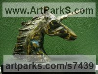 Bronze Mythical sculpture by Goran Gus Nemarnik titled: 'Unicorn (Little Indoor Desk Top Nead Bust bronze Metal Stylised statue)'