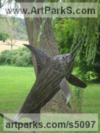 Steel Big Game Fish Sculptures and Statues sculpture by Graham Anderton titled: 'Large Marlin (Big Steel life size Game Fish statue)'