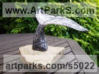 Abstract Fish sculpture by Graham Anderton titled: 'Whale Tail (Metal Outdoors Yard/garden Fish sculpture statues)'