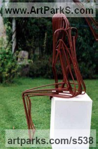 Steel painted Human Form: Abstract sculpture by sculptor Graham Findlay titled: 'Rebar Woman (Minimalist abstract Contemporary Modern sculpture)'