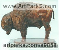 Foundry bronze Wild Animals and Wild Life sculpture by Graham High titled: 'BISON (American Buffalo Standing at Bay sculptures)'