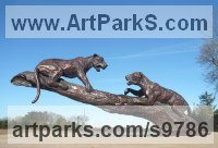 Bronze Wild Animals and Wild Life sculpture by Graham High titled: 'Jaguar`s'