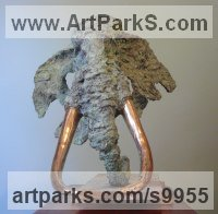 Foundry bronze Stylized Animals sculpture by Graham High titled: 'Little Elephant Head (Contemporary Tuske rHead statue)'