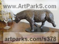 Bronze African Animal and Wildlife sculpture by Graham High titled: 'Rhino'