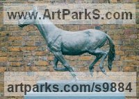 Cold cast bronze Horses Heavy / Working Shire, Plough, Dray, Barge, Horses Sculptures Statues statuettes commissions sculpture by Graham High titled: 'Running Horse (Small Indoor sculpture for sale)'