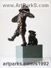 Bronze on Granite Children Child Babies Infants Toddlers Kids Sculptures Statues statuettes figurines sculpture by Graham Ibbeson titled: 'ATTEMPT (Small Bronze Little Girl and Dog statues)'