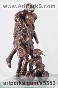 Bronze Children Playing Sculptures or Statues or statuettes sculpture by Graham Ibbeson titled: 'Interrupted Celebration (Bronze Children Footballers)'