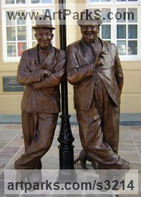 Pop Art Sculpture by sculptor artist Graham Ibbeson titled: 'Laurel and Hardy (bronze life size Film Star sculpture/statue)' in Bronze
