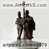 Bronze on Slate Celebrity and Star sculpture by Graham Ibbeson titled: 'Laurel and Hardy sculpture'