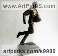 Bronze on Slate Historical Character Statues / sculpture by Graham Ibbeson titled: 'William Webb Ellis sculpture (Rugby Player statuette)'