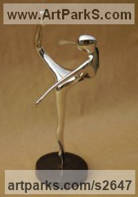 Bronze Sculptures of females by Guy Portelli titled: 'Ballerina (small Little Girl Dancer sculptures/statues/statuettes)'