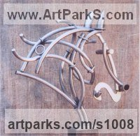 Sculpture or Statues made from Metal Rods or Bars by sculptor artist Guy Portelli titled: 'Equus (Semi abstract Steel Big Horse Head Bust sculptures statue)' in Stainless steel and wood