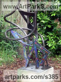 Mosaic Sculpture by sculptor artist Guy Portelli titled: 'Red Hot Pokers (Giant Bronze and Mosaic garden sculptures)' in Bronze & glass mosaic with stone plinth