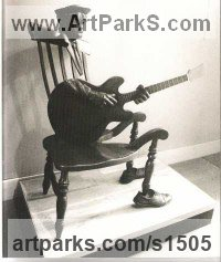 Pop Art Sculpture by sculptor artist Guy Portelli titled: 'Rocking Chair Blues (John Lee Hooker Modern bronze statues sculpture)' in Bronze