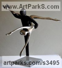 Ballet Dancer Ballerina Classical Dance Sculpture Statues statuettes Figurines by sculptor artist Guy Portelli titled: 'Romeo and Juliet (Small Bronze Ballet Dancer Dance statues sculptures)' in Bronze