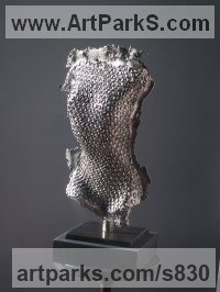 Bronze Sculptures of females by Guy Portelli titled: 'Unwrapped (nude bronze Nickel female Naked Torso statues sculpture)'
