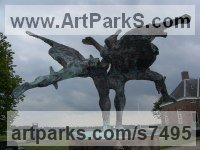 Bronze Sculpture of Men by Hans Blank titled: 'Dancing Vikings (abstract Contemporary Modern bronze Outdoor statue)'