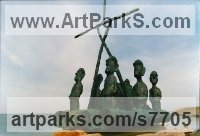 Foundry cast bronze Mythical sculpture by Hans Blank titled: 'Easter Island, Balsa Raft'