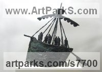 Foundry cast bronze Transport including Road / Rail / Air / Aircraft / Sea / Maritime sculpture by Hans Blank titled: 'Medieval Boat (Primitive Contemporary Ship statuettes)'