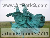Foundry cast bronze Horses Abstract / Semi Abstract / Stylised / Contemporary / Modern Statues Sculptures statuettes sculpture by Hans Blank titled: 'Thor and Odin (Contemporary Nordic Gods statue statuette)'