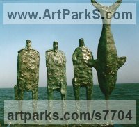 Foundrt cast bronze Male Men Youths Masculine Statues Sculptures statuettes figurines sculpture by Hans Blank titled: 'Unloading Swordfish (abstract Fish and Fishermen statue)'