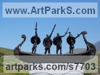 Foundry cast bronze / carved stone Military, Soldiers, Sailors, Marines Airmen and Military Equipment sculpture by Hans Blank titled: 'Viking Warriors (abstract Norsemen statuettes statue)'