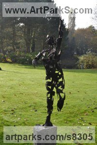 Bronze on granite Mythical sculpture by Hans Koenen titled: 'Dream (female abstract Plant Leaves Metamorphosis statue)'