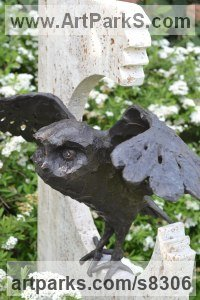 Bronze travertine Birds of Prey / Raptors sculpture by Hans Koenen titled: 'Escape/Free (bronze Little Owl about to Fly garden statuette)'