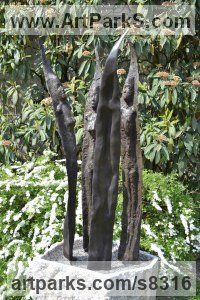 Bronze granite Human Figurative sculpture by Hans Koenen titled: 'Waterboard/the 4 Lilies (Bronze abstract People Flower sculpture)'