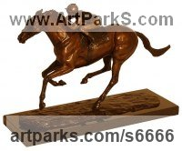 Bronze Champions Sculptures Statues statuettes figurines sculpture by Harriet Glen titled: 'Frankel (Galloping Stallion Racehorse and Jockey Racing statuette)'