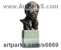 Bronze Human Figurative sculpture by Harriet Glen titled: 'Nelson Mandela (Small Portrait Bronze Bust Head statue)'