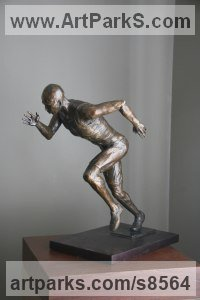 Bronze Sculptures of Sport in General by Heidi Hadaway titled: 'Athlete (SprinterRace Runner male Bronze sculpture)'