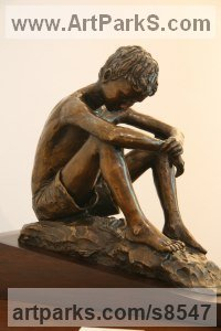 Bronze Teenagers Sculptures statuettes Portraits figurines commissions etc sculpture by Heidi Hadaway titled: 'Boy on a Rock (Little Seated Boy bronze sculptures)'