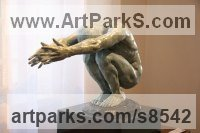 Bronze Nudes / Male sculpture by sculptor Heidi Hadaway titled: 'Crouching Man (Squatting Male nude thinking statue)'