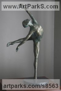 Bronze Dance Sculptures and Ballet sculpture by Heidi Hadaway titled: 'Dancer 2 (Small bronze Arabesque Ballerina sculpture)'