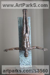 Bronze Sculptures of Sport in General by Heidi Hadaway titled: 'Diver (Small Bronze Man Diving statuette sculpture)'