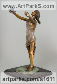Bronze Indoor figurative sculpture by sculptor Heidi Hadaway titled: 'Free to be Me (Bronze Girl Dancing with Bird sculptures or statuettes)'