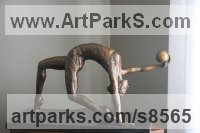 Bronze Semi Nude / Naked Girls Females Women sculpture by Heidi Hadaway titled: 'Gymnast (Small Girl in Leotard and Ball sculpture)'