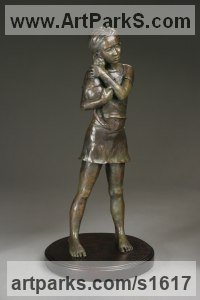 Bronze Cats sculpture by Heidi Hadaway titled: 'I Love My Cat (Little Girl Hugging Pet Cat sculpture/statuette)'