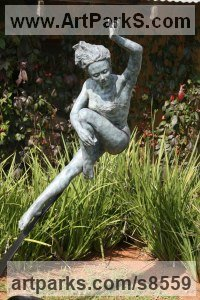 Bronze Semi Nude / Naked Girls Females Women sculpture by Heidi Hadaway titled: 'Leaping Girl (Dancing Ballerina bronze statue)'