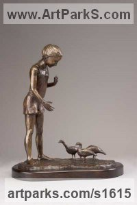 Bronze Children Child Babies Infants Toddlers Kids sculpture statuettes figurines sculpture by sculptor Heidi Hadaway titled: 'Lunch Time (Little Bronze Girl Feeding Birds sculpture figuruine)'
