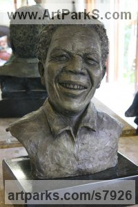 Bronze Famous People Sculptures Statues sculpture by Heidi Hadaway titled: 'Mandela Bust (Portrait Head Commission sculpture)'