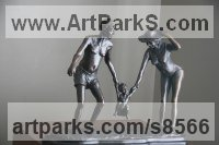Bronze Children Playing Sculptures or Statues or statuettes sculpture by sculptor Heidi Hadaway titled: 'Seasons in the sun (Grandparents and Grandchild statuette)'