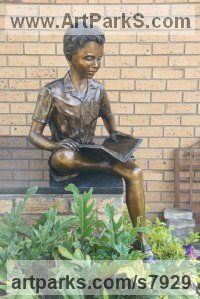 Bronze Commemoratives and Memorials sculpture by sculptor Heidi Hadaway titled: 'St. Benedicts Preparatory School (School Boy Studying sculpture)'