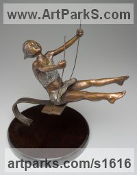 Bronze Children Child Babies Infants Toddlers Kids Sculptures Statues statuettes figurines sculpture by Heidi Hadaway titled: 'The Swing (Small bronze Young Girl on Swing statue/sculpture)'