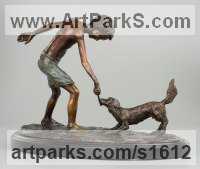Bronze Children Child Babies Infants Toddlers Kids sculpture statuettes figurines sculpture by sculptor Heidi Hadaway titled: 'Tug of War (Small Bronze Young Boy and Dog Playing sculpture/statuette)'